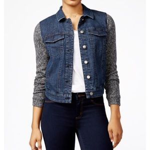 tinseltown Jackets & Blazers - denim jacket juniors knitted sleeves NWT