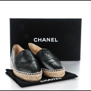 CHANEL Shoes - Chanel Black Leather Lambskin Espadrilles - Size 9