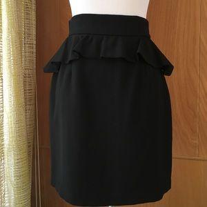 aaron ashe Dresses & Skirts - Aaron Ashe black wool pencil skirt peplum ruffle