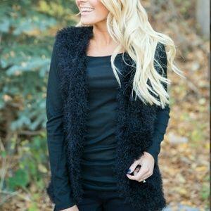 boutique Jackets & Blazers - CHIC FUZZY BLACK VEST