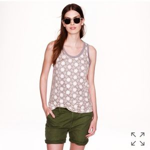 J. Crew gray floral crocheted lace tank top