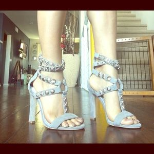 Jeffrey Campbell gray strappy heels