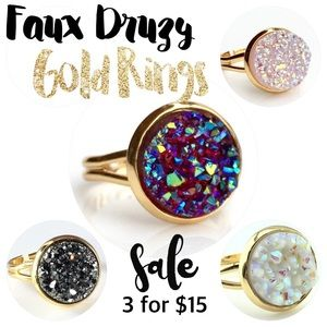 thejeweladdict Jewelry - 3 for 15🎀Faux Druzy gold rings