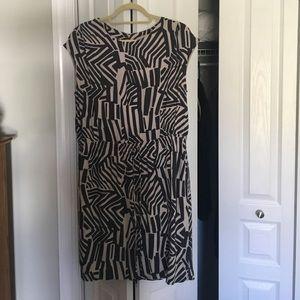 LOFT Gray and Tan, Cap Sleeve Dress, Size L