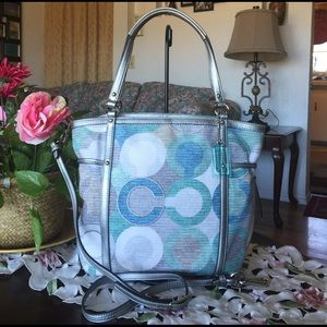 Coach Handbags - Rare Coach  Audrey Metallic Graphic Op Art CTote