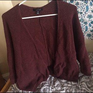 Sweaters - Burgundy knit cardigan