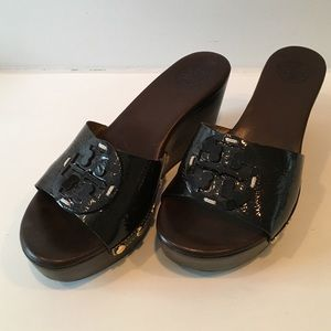 Tory Burch Patti brown patent wedge.