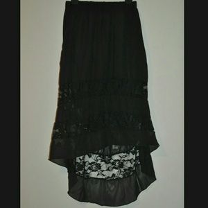 Wet Seal Dresses & Skirts - Beautiful Black Lace High Low Skirt