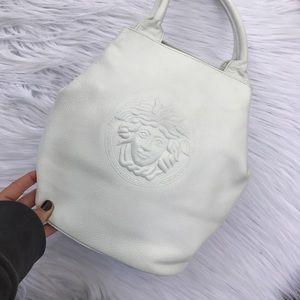 Versace Handbags - VERSACE MEDUSA WHITE LEATHER BAG PURSE 80s Era