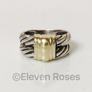 David Yurman Jewelry - David Yurman Sterling & 14k Gold Double Cable Ring