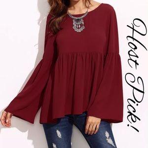 Tops - Elegant flare sleeve babydoll blouse