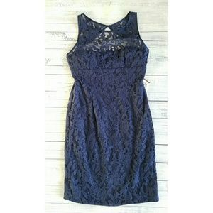 Monique Lhuillier Dresses & Skirts - Monique Lhuillier bridesmaids navy lace dress