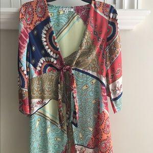 CABI patchwork paisley tiefront kimono tunic S