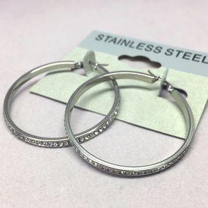 Jewelry - Stainless Steel Swarovski Crystal Rhinestone Hoop