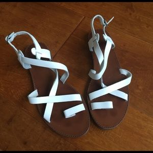Shoemint Shoes - White leather sandals