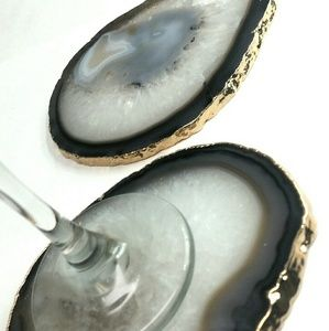 Other - Matching Pair Gold Plated Natural Brazilian Agate