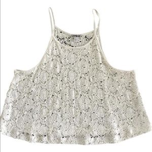 Express Tops - Express White Lace Crop Top