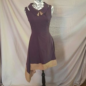 Esley Dresses & Skirts - 💥FLASH💥Purple and Mocha Retro Asymmetrical Dress