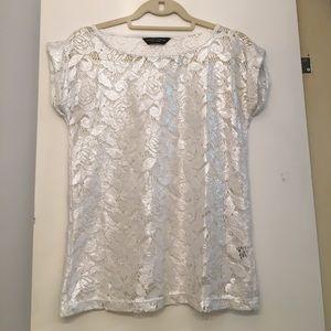 Dorothy Perkins Tops - Silver Shimmer Lace Shirt