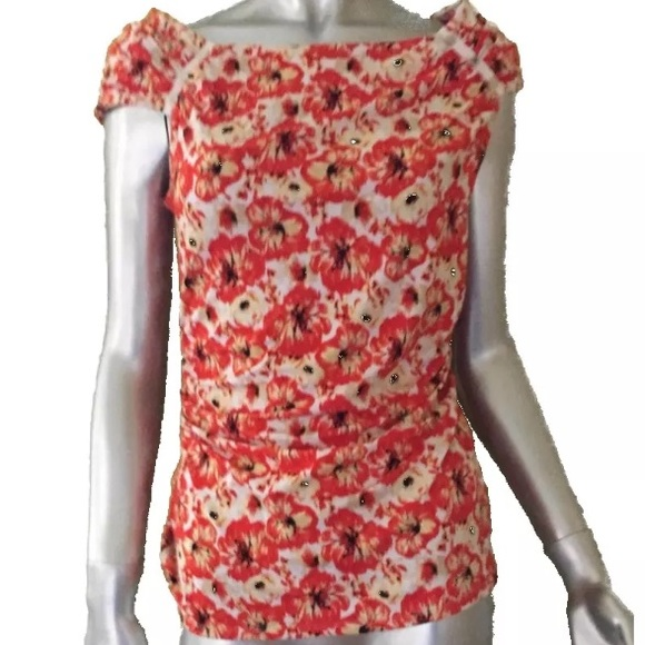 a199f230e408f9 NWT White House Black Market Orange Floral Top
