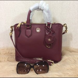 Tory Burch Burgundy Leather Mini Robinson Tote