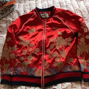 Jackets & Blazers - ❣️FINAL REDUCTION ❣️ Red Embroidered Bomber Jacket