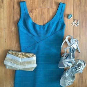 Herve Leger Dresses & Skirts - Herve Leger Maria Teal Bandage Dress