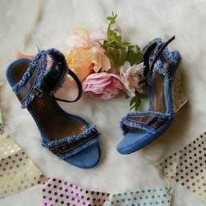 Colin Stuart Shoes - Colin Stuart denim wedge sandals