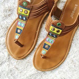 Bamboo Shoes - ⛱ Tan Patterned Thong Sandal ⛱
