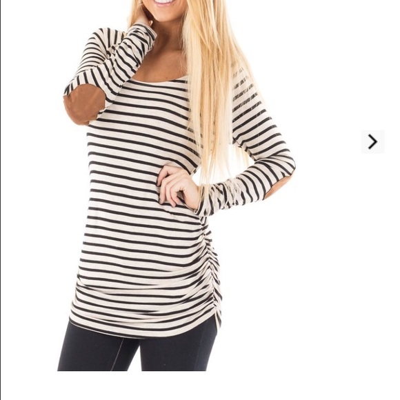 ffbfc95d53f05 Lime lush boutique Tops - White and black striped shirt with brown elbows