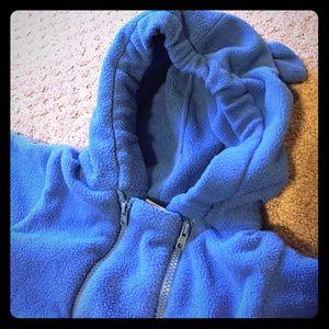 I Play Other - Cozy Blue zip up fleece hooded full body coat