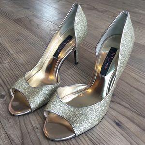 Nina Shoes - Nina Gold Sparkly Heels