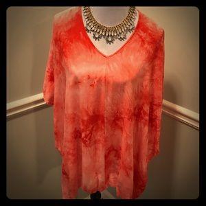 Umgee Tops - Umgee Orange & White Tye Dye Tunic