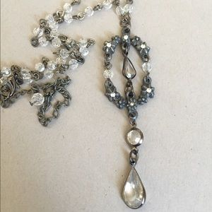 Vintage Jewelry - Vintage cast pewter shabby chic crystal necklace
