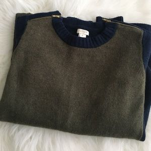 J. Crew Sweaters - J.Crew colorblock zip sweater