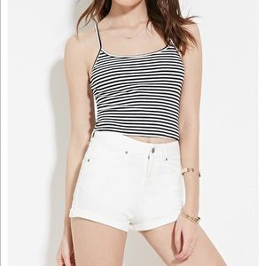 ☠️ White F21 High Waisted Shorts