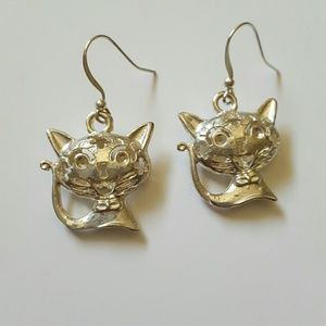 SILVER TONE CAT EARRINGS