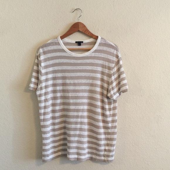 4a3757561ff THEORY women s LINEN striped top blouse L. M 58bf3e8999086a6486001c96