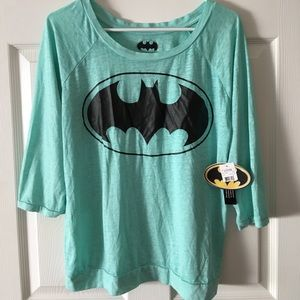 Bioworld Tops - Three quarter sleeve mint green batman shirt nwt