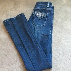 Rock & Roll Cowgirl Denim - 24x36 Rock & Roll Cowgirl Bling Jeans