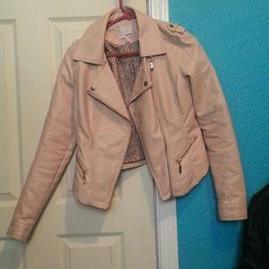 Bongo Pastel Pink Leather Motor Jacket