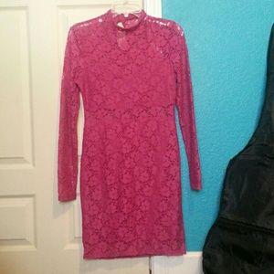 Magenta Pink Long sleeve Lace dress