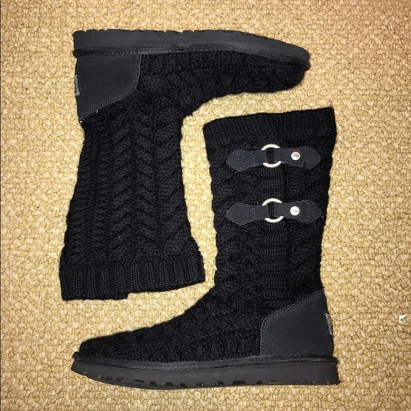 53308f8c8a9 Cable Knit Mid-Calf Black Uggs With Metal Buckles