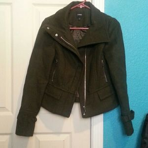 EXPRESS  olive green peacoat