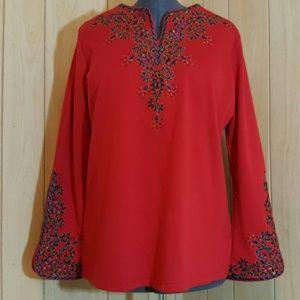 Bob Mackie Tops - Bob Mackie Embroidered Bombay Tunic Red L
