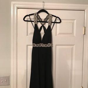 Black sequin open back prom dress