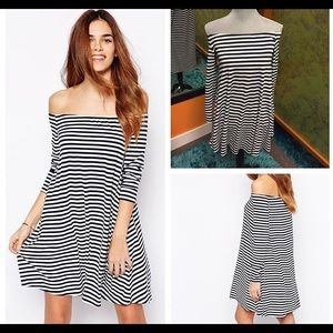 Glamour & Co. Dresses & Skirts - UKGlamour Off the Shoulder Navy/White Dress.. $20