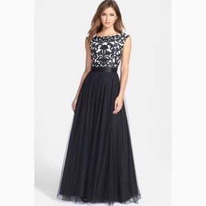 Aidan Mattox Dresses & Skirts - Aidan Mattox Embroidered Bodice Mesh Prom Dress