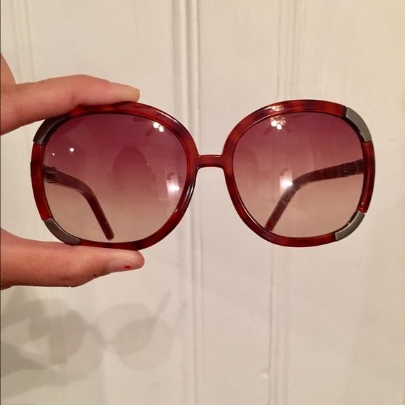 878812603597 Chloe Accessories - Chloe Myrtle oversized tortoise shell sunglasses