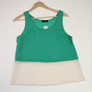 Pinky Tops - Green and Ivory Colorblock Tank Top